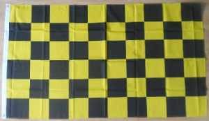 Black and Yellow Checkered Large Flag - 5' x 3'.